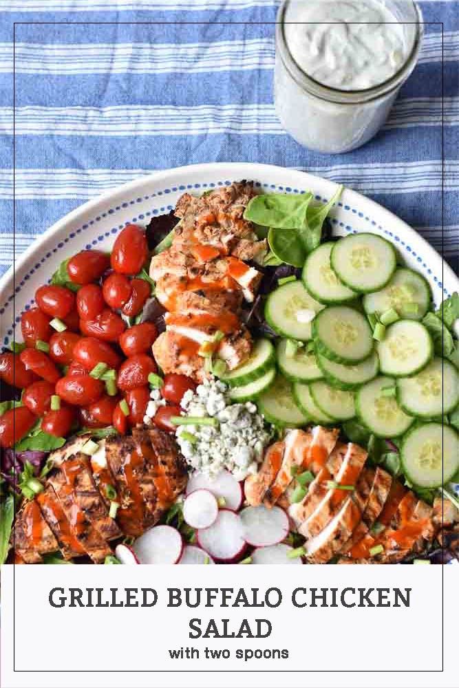 Grilled Buffalo Chicken Salad long pin