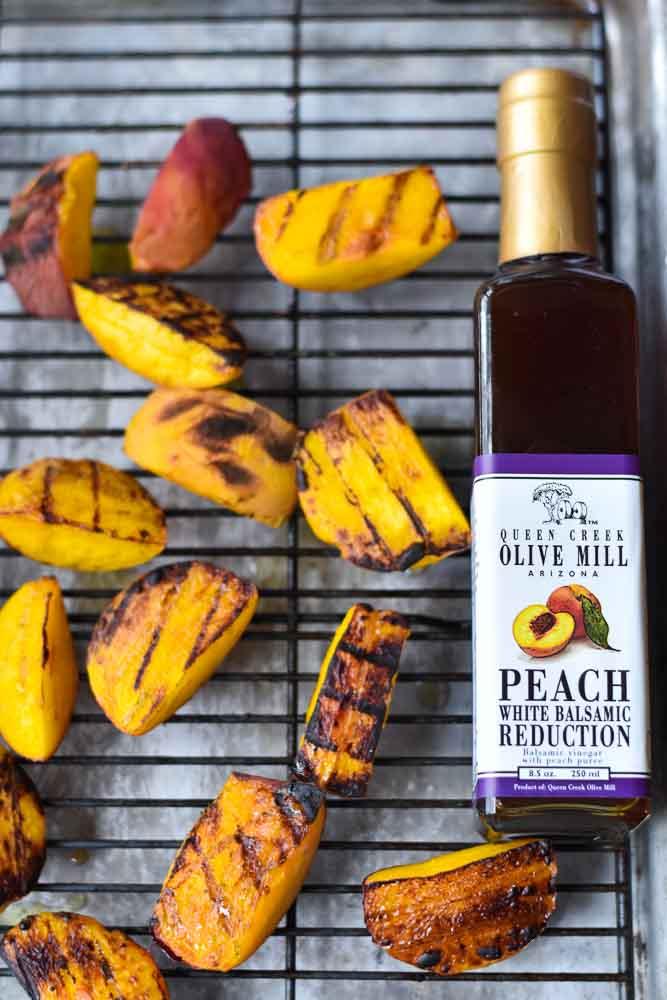 Basil and Balsamic Peach Bruschetta