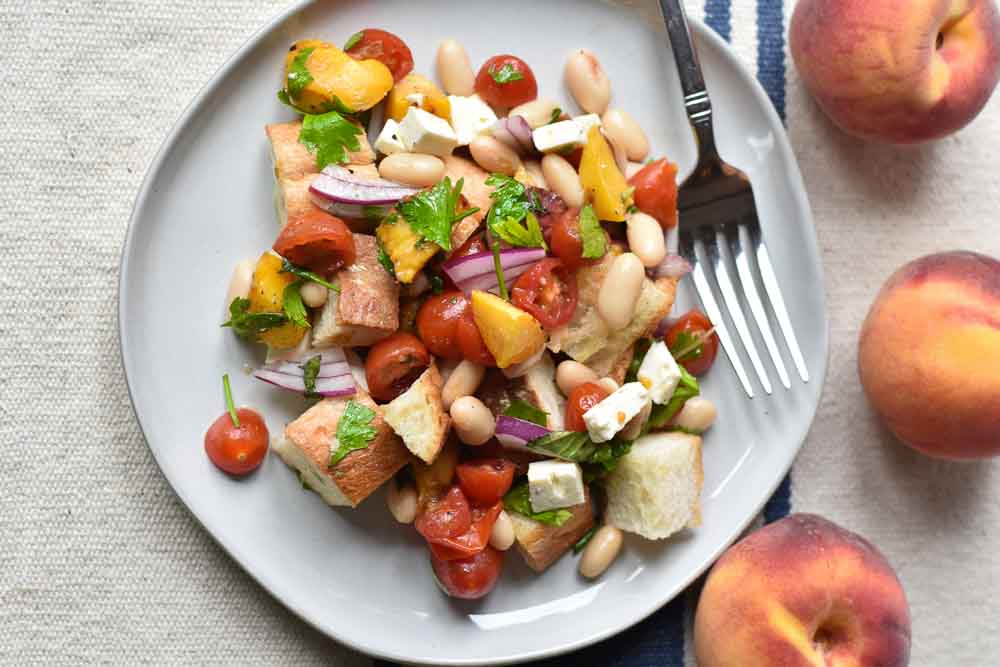 Grilled Peach and Herb Panzanella Salad