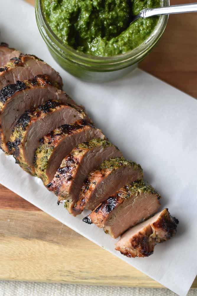 Chimichurri Pork Tenderloin, the perfect weeknight meal. #chimichurri #porktenderloin #dinnertonight