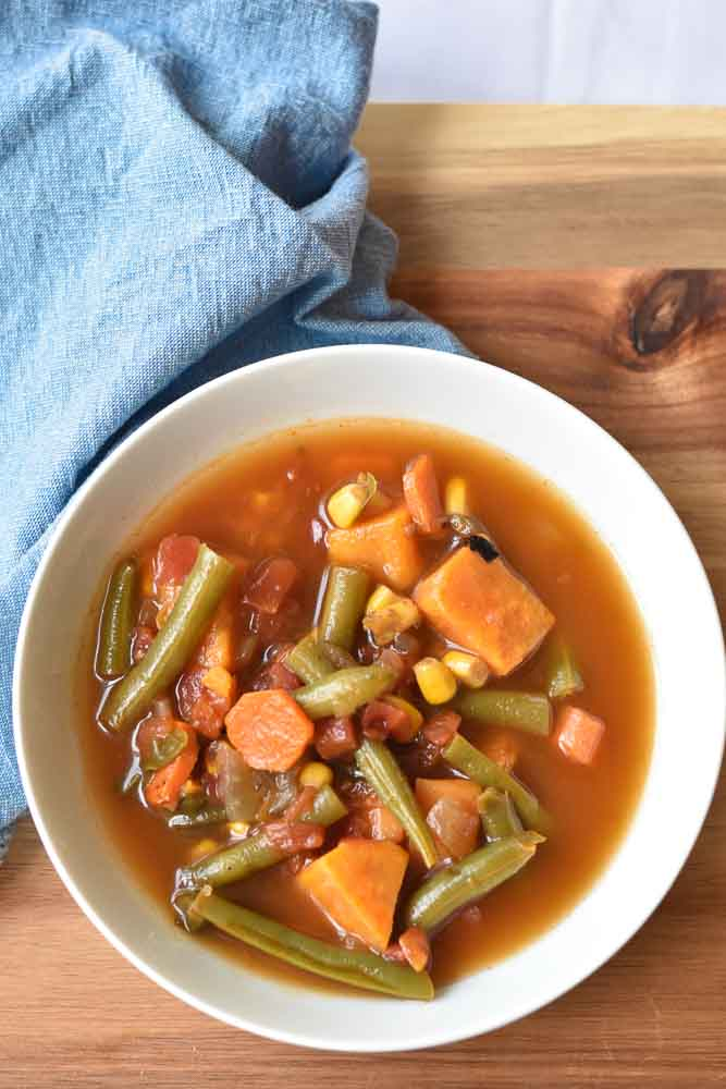 Garden Vegetable Soup bowl with napkin