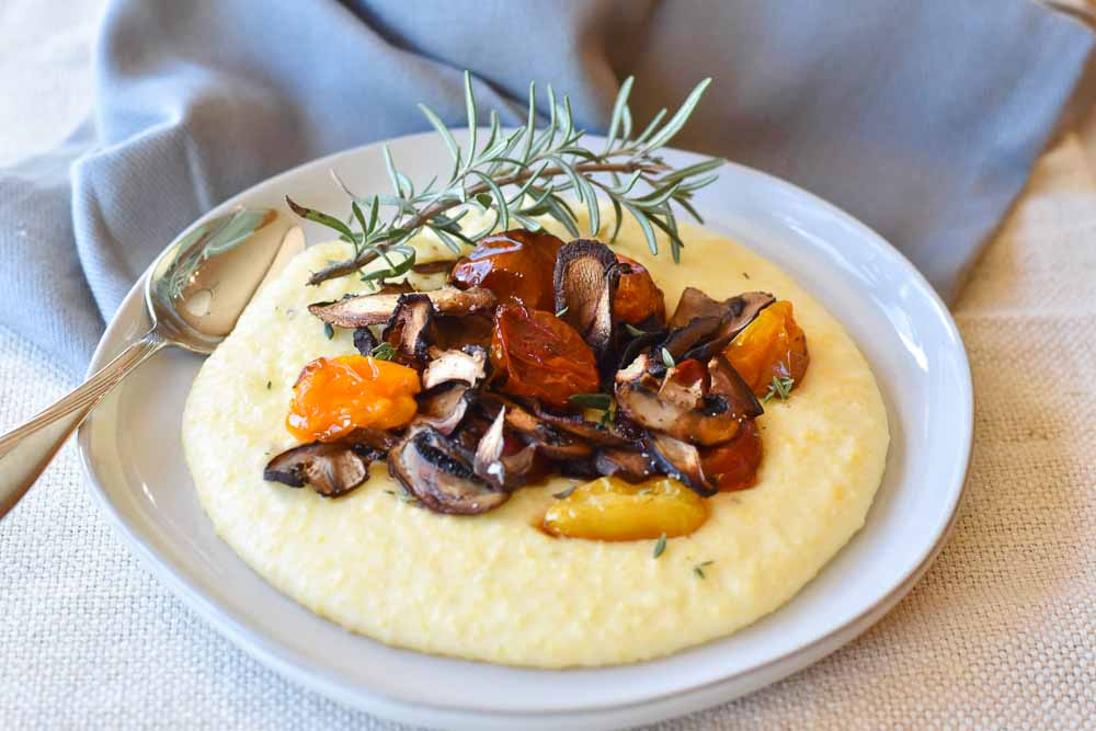 Creamy Goat Cheese Polenta with Roasted Tomatoes and Crispy Mushrooms