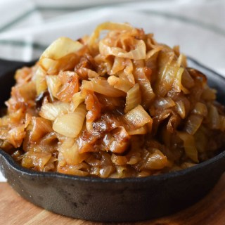 Caramelized Onions heaped up in a cast iron skillet