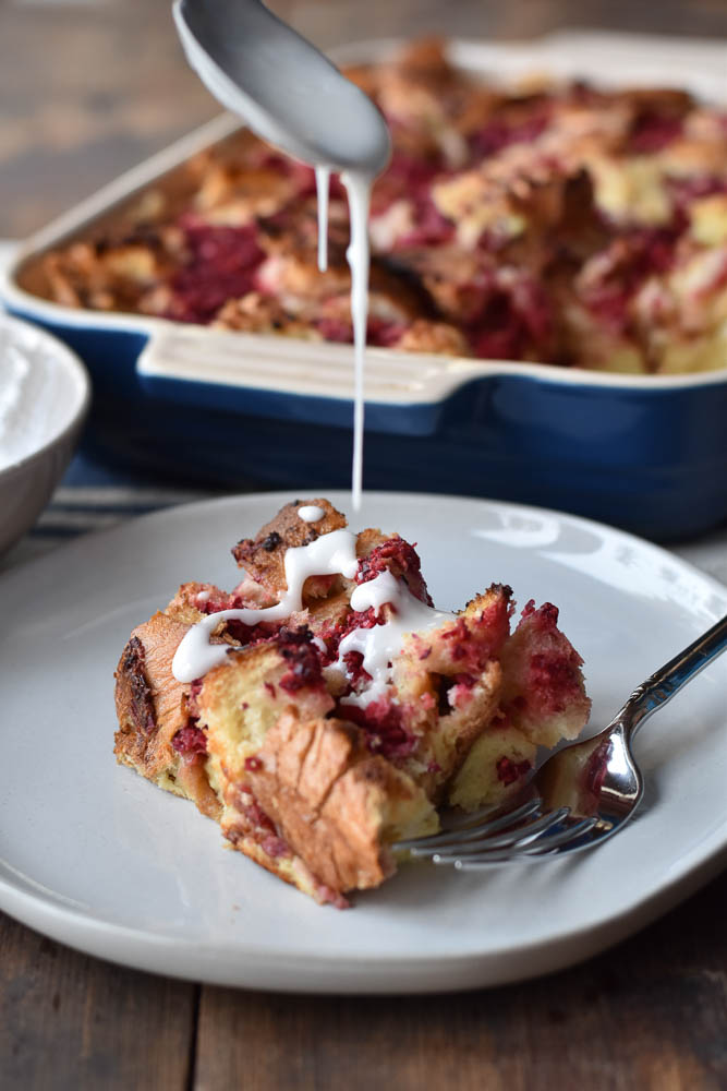 Cranberry Orange Make Ahead French Toast Bake with orange glaze drizzle