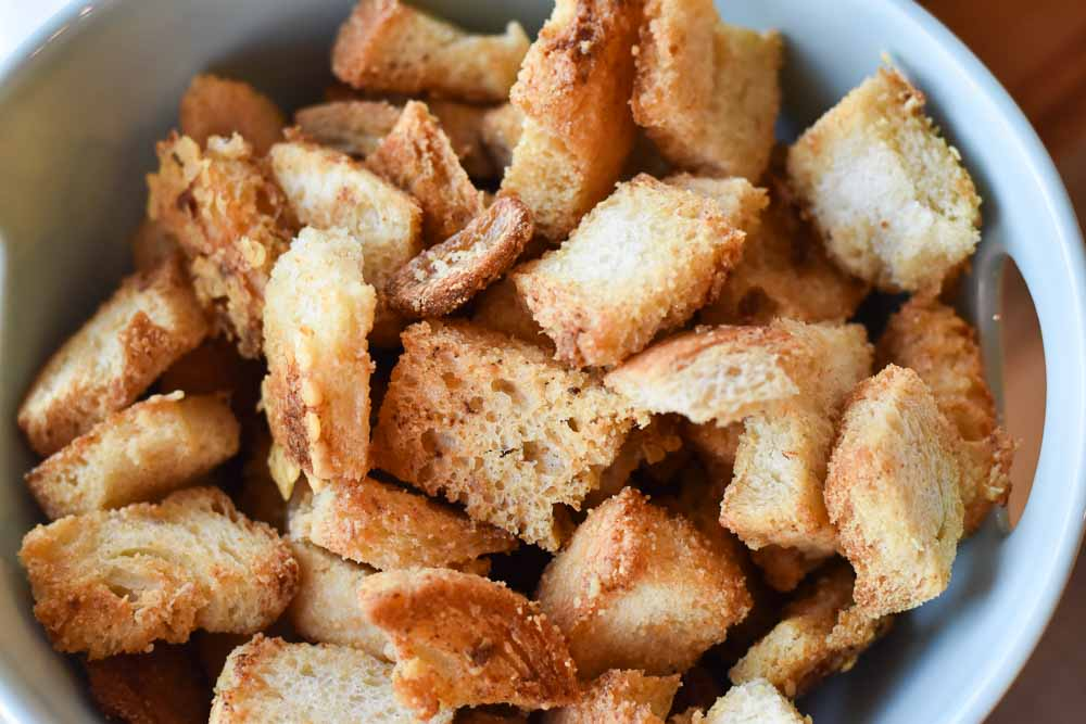 Easy Parmesan Brown Butter Croutons up close