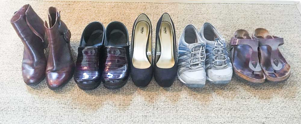 Shoes lined up in a row. Friday Five Life Hacks.
