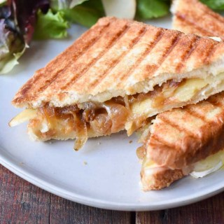 Caramelized Onion, Apple, and Brie Grilled Cheese Sandwiches close up