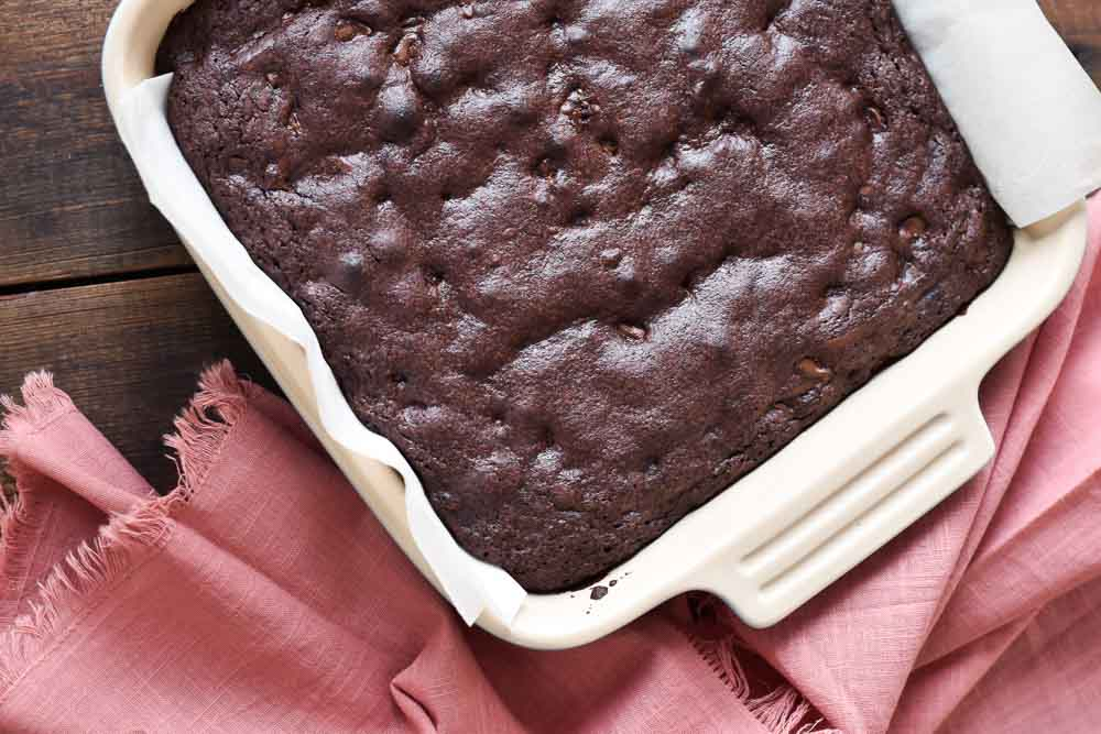 Double Chocolate Olive Oil Brownies in a pan.