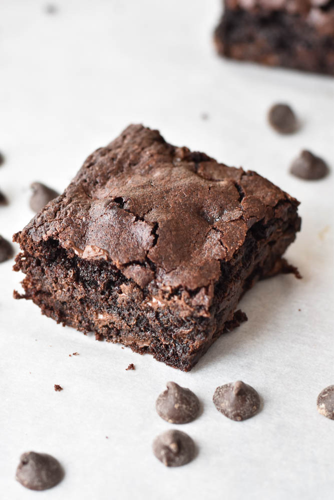 Double Chocolate Olive Oil Brownies with chocolate chips