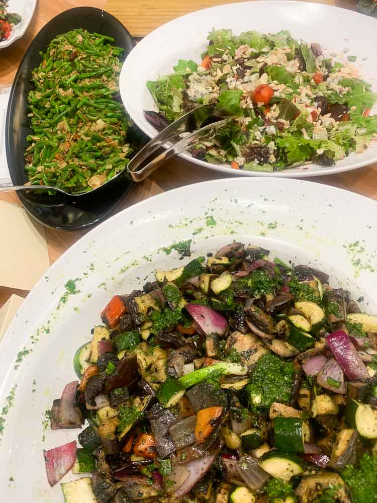Roasted Eggplant Salad, Green beans and a grain salad at Healthy Kitchens