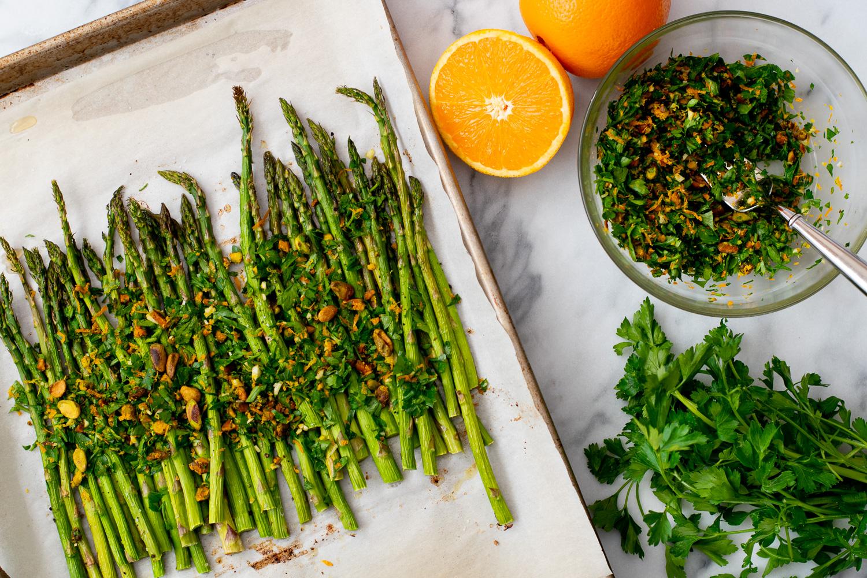 Asparagus With Pistachio Citrus Gremolata