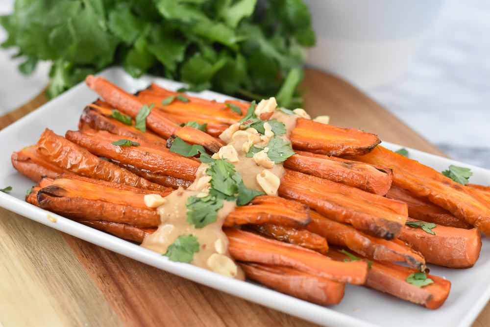 Roasted Carrots with Peanut Sauce Close Up