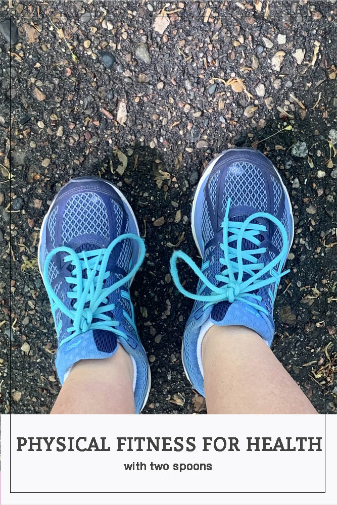 Pinterest Pin for Physical Fitness for Health, photo of blue shoes