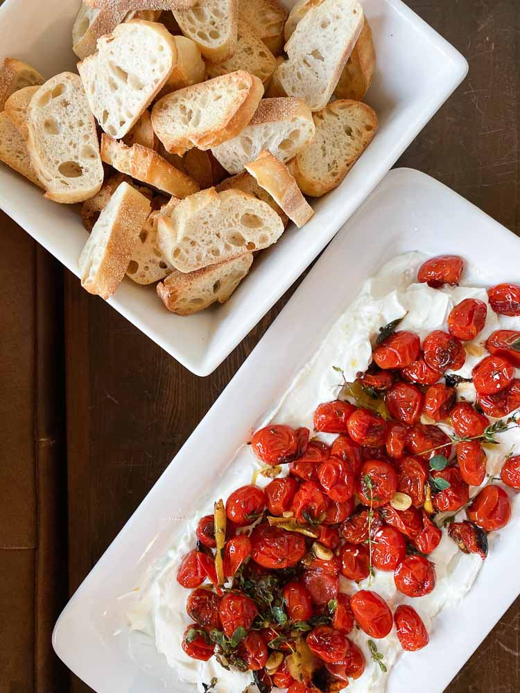 Charred Cherry Tomatoes and Cold Yogurt served with toasted bread
