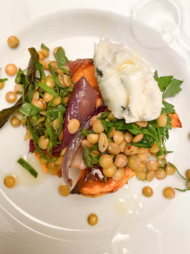 Roasted Butternut Squash with Lentils and Dolcelatte for the Dinner Party