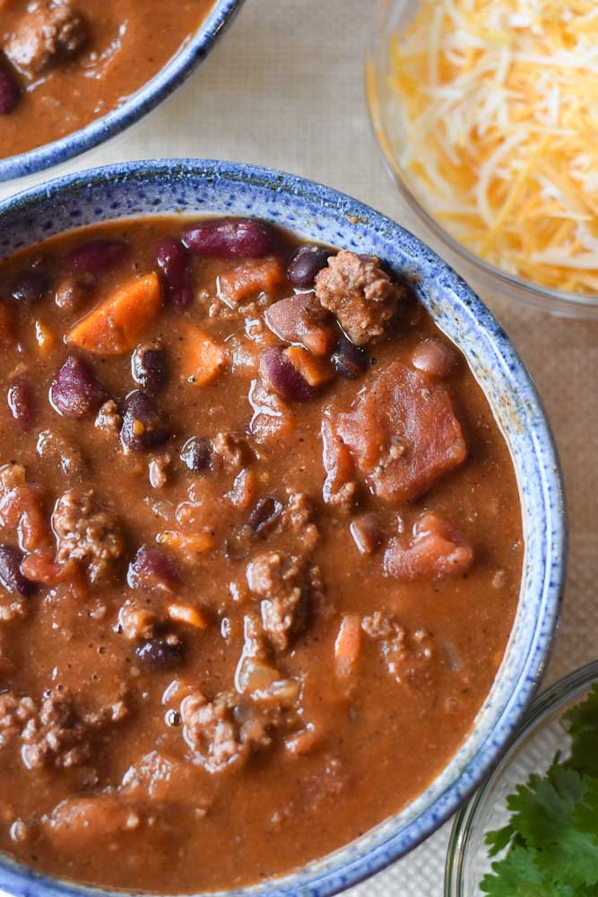 Instant Pot Chipotle Beef Chili with cheese