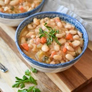Two bowls of Instant Pot Vegan White Bean Soup