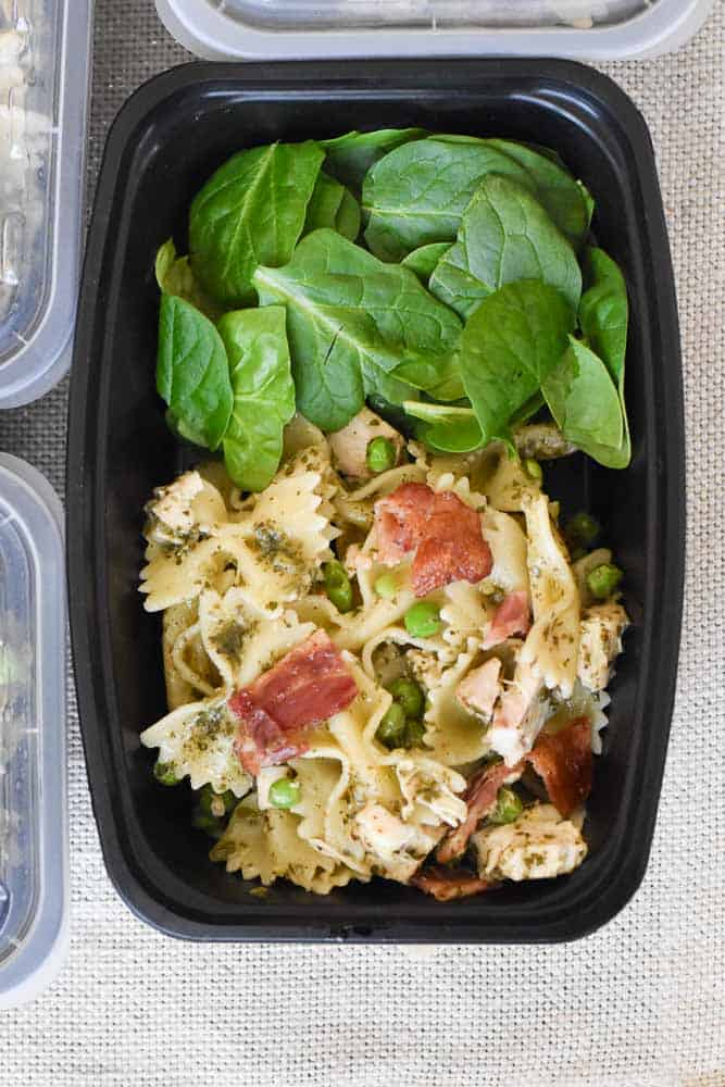 Meal Prep Chicken Pesto Pasta in an individual container