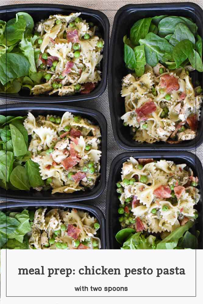 Meal Prep Chicken Pesto Pasta in individual containers