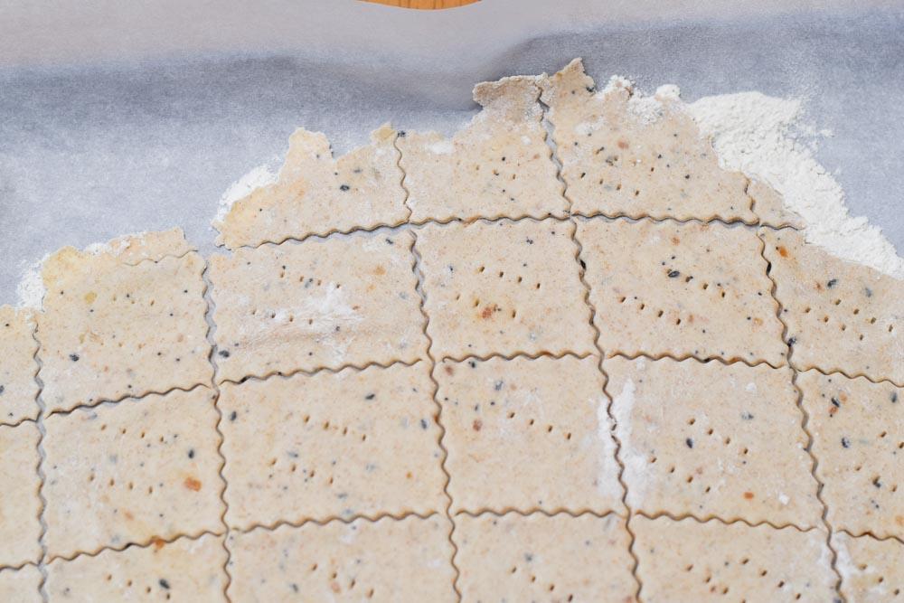 Sourdough Cracker Dough cut into crackers