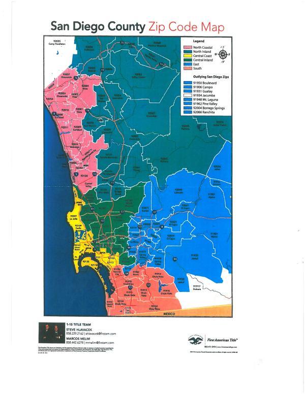 SAN DIEGO COUNTY ZIP CODE MAP Art Abbett