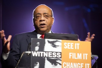 See it. Film it. Change it award recipient Mo Ibrahim addresses the audience