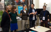The group that worked with artist Shiraz Bayjoo (far left) describing their process in making a video about reconnecting with nature.