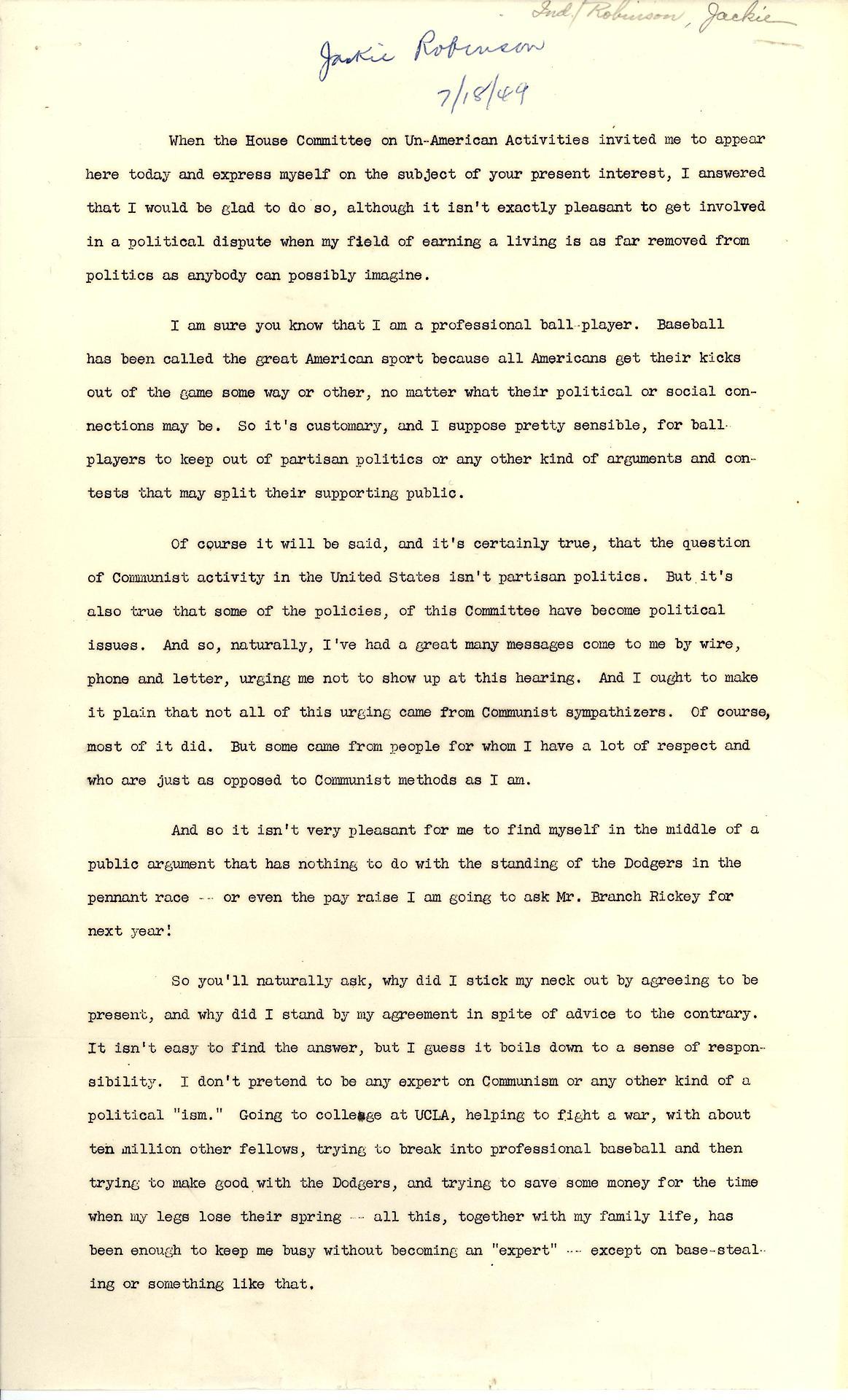 Start Of Jackie Robinson S House Committee On Un American Activities Speech