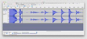 คลื่นเสียงที่อัดมาด้วยโปรแกรม Audacity