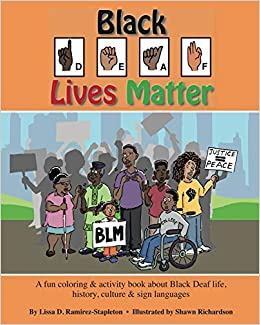 "A diverse crowd stands in front of a cityscape holding protest signs saying ""justice = peace"" and ""BLM"" on this coloring book cover"