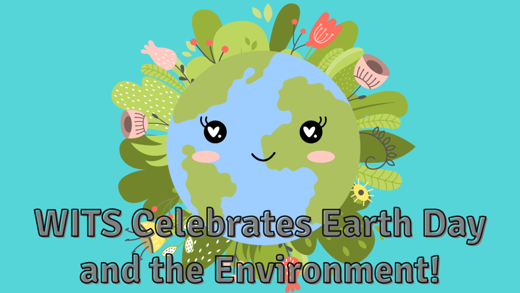 text in front of a bright blue background with an illustration of Earth, smiling, with green plants and pink flowers