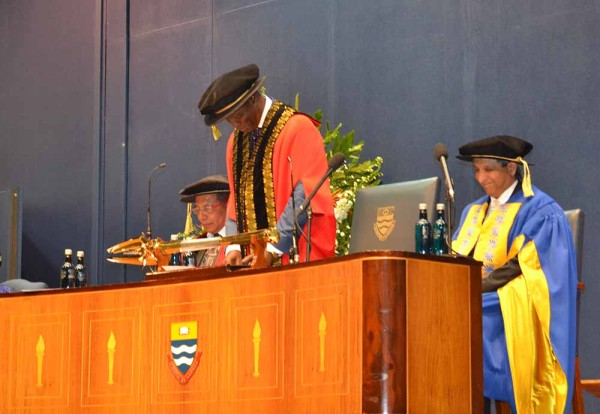 A NEW ERA: Chancellor, Deputy Justice Dikgang Moseneke proceeds the installation of the Vice Chancellor and Principle Adam Habib. Photo: Nokuthula Manyathi