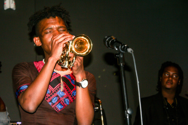 Trumpeter, Mandla Mlangeni delivered an emotional performance in memory of Sisa Sopazi at The Orbit. Photo: Zimasa Mpemnyama