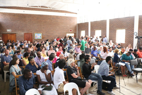 Non-representative: there was a call for meetings like this to be held in areas that were more accesible to poor black people. Photo: Tebogo Tshwane