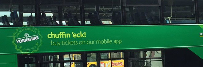 An example of The Keighley Bus Company's use of local dialect.