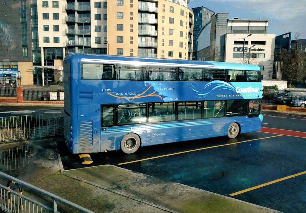 A brand new Coastliner bus waiting time in Leeds City bus station