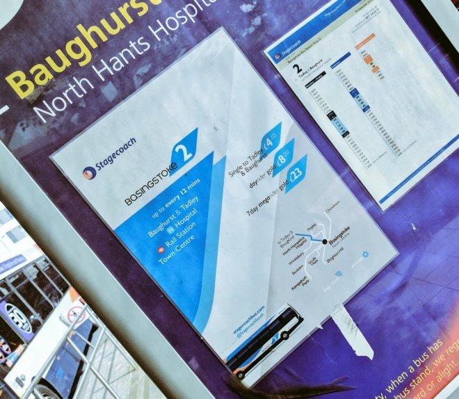 Roadside displays in Basingstoke bus station