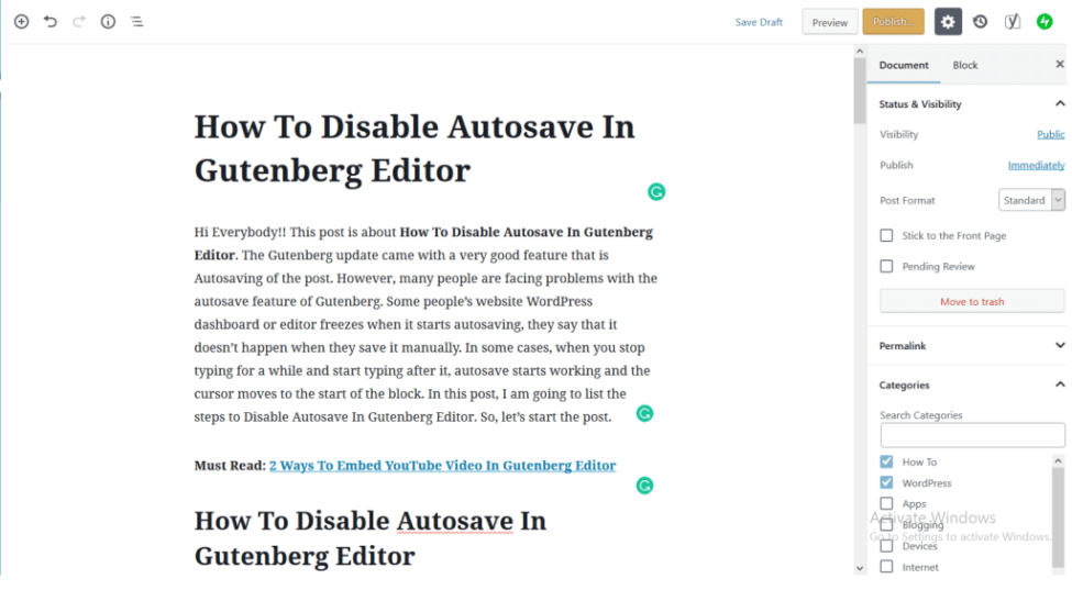 Disable Gutenberg Autosave options to disable Autosave in Gutenberg