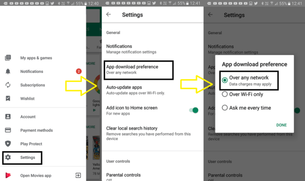 Changing Google Play Store's Download Preference to Fix Android App Download Error