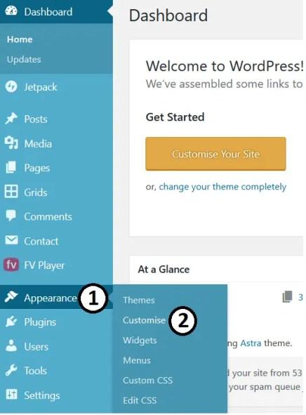 Opening Customiser to Change Font Size In WordPress
