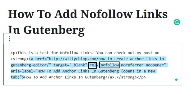 Add Nofollow Links In Gutenberg