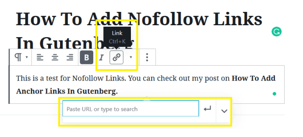 Adding The Link To Add Nofollow Links In Gutenberg