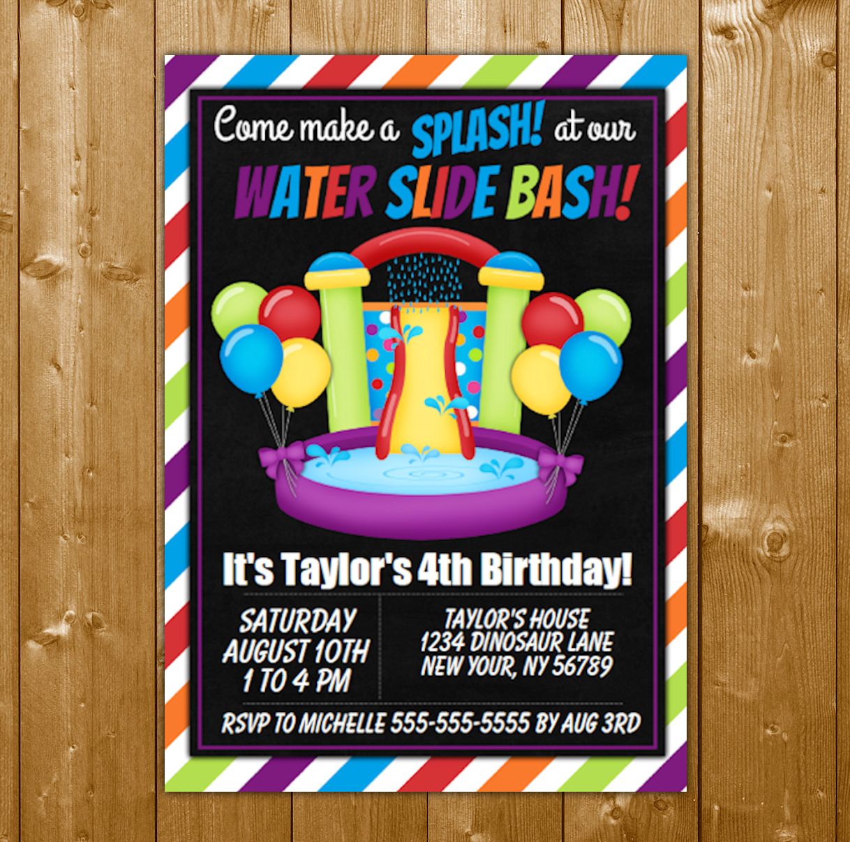 water slide party invitation printable digital download birthday party invite birthday party invite