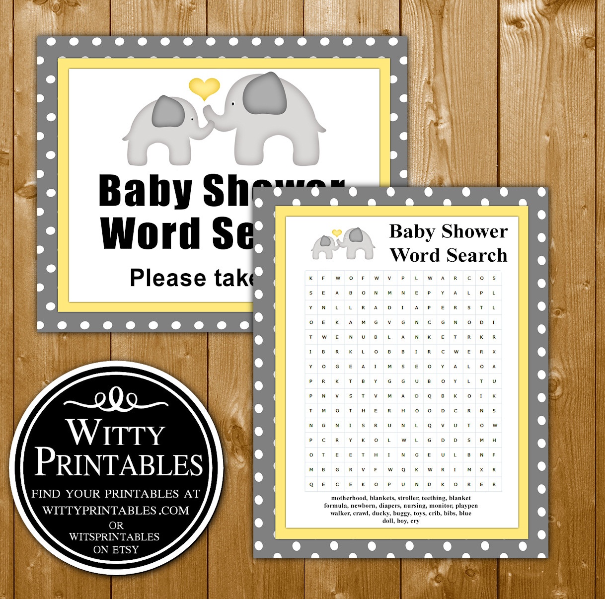 Word Search Baby Shower Game Printable Yellow Elephant