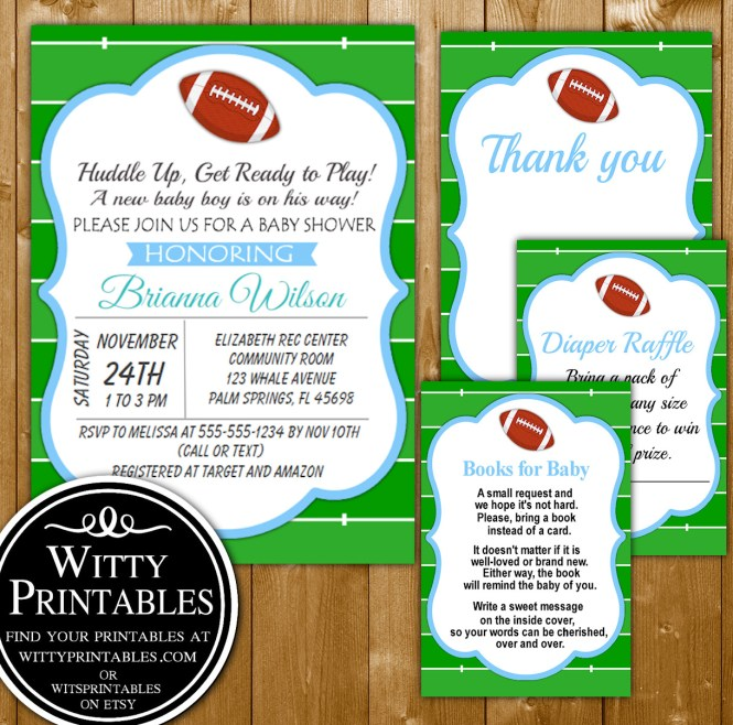 Baby Shower Invitation Set Printable Football Themed For A Boy Books Diaper Raffle And Thank You