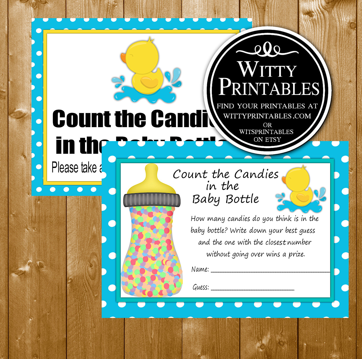 Candy In A Bottle Baby Shower Game Printable Aqua Duck Boy Theme