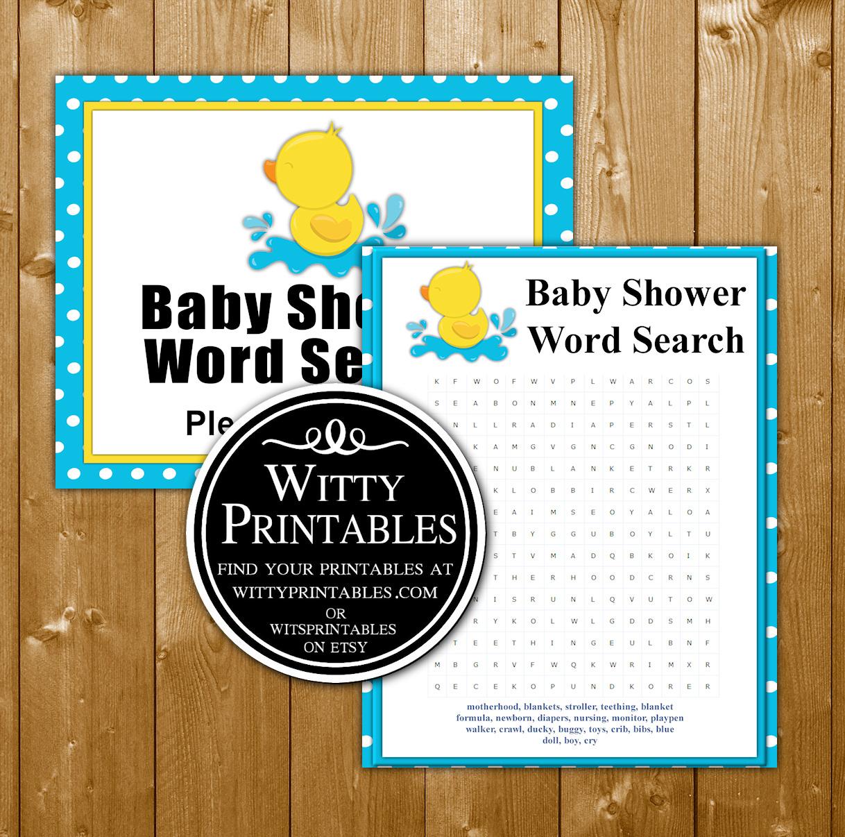 Word Search Baby Shower Game Printable Aqua Duck Boy Theme