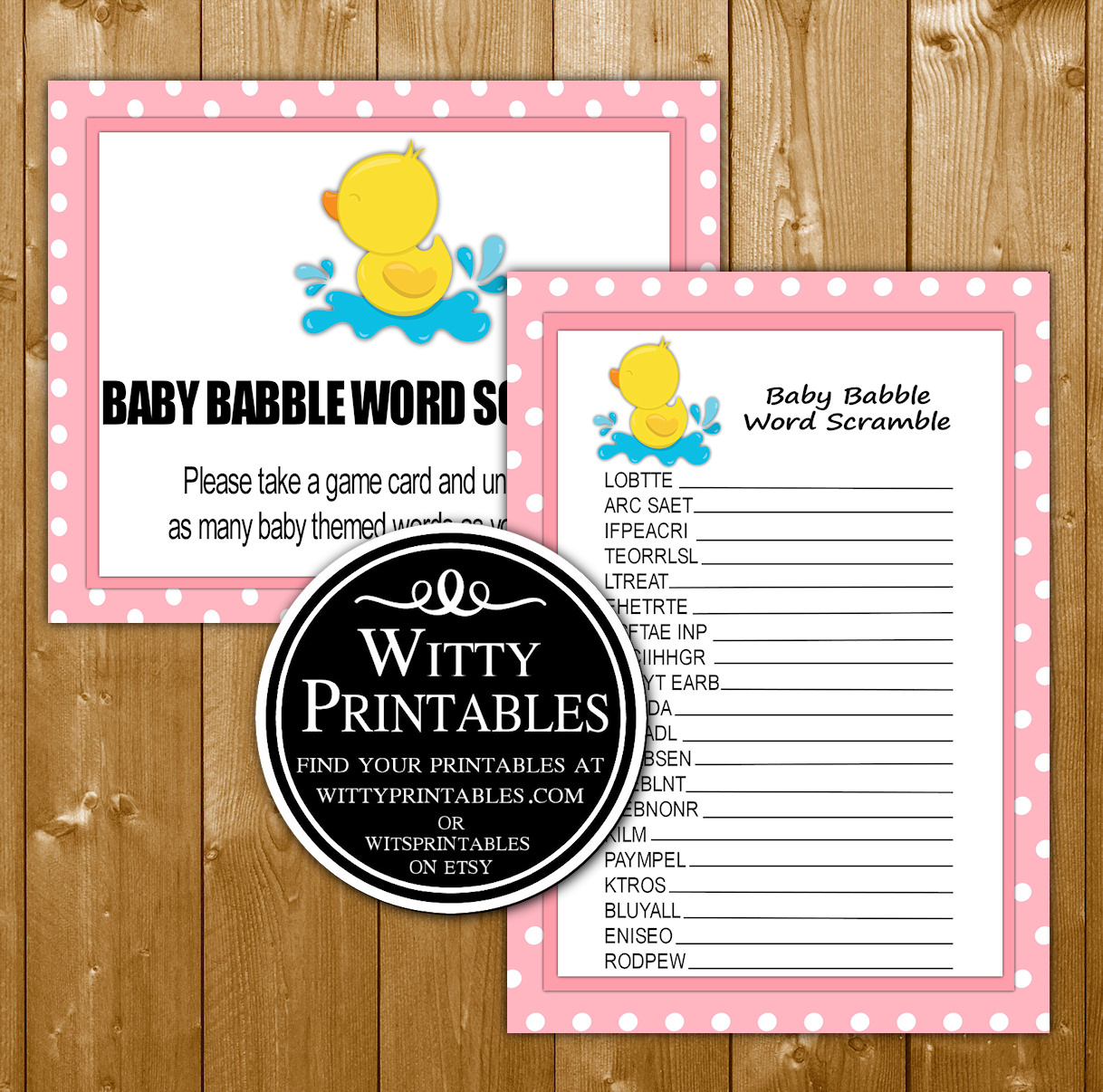 Word Scramble Baby Shower Game Printable Pink Duck Girl