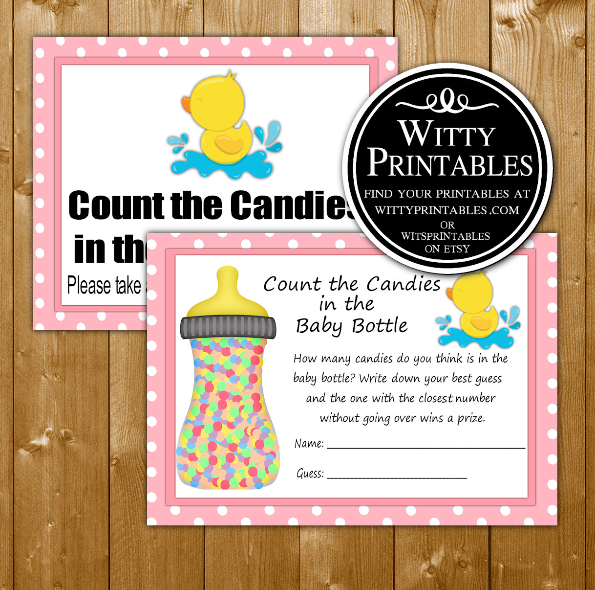 Candy In A Bottle Baby Shower Game Printable Pink Duck Girl Theme