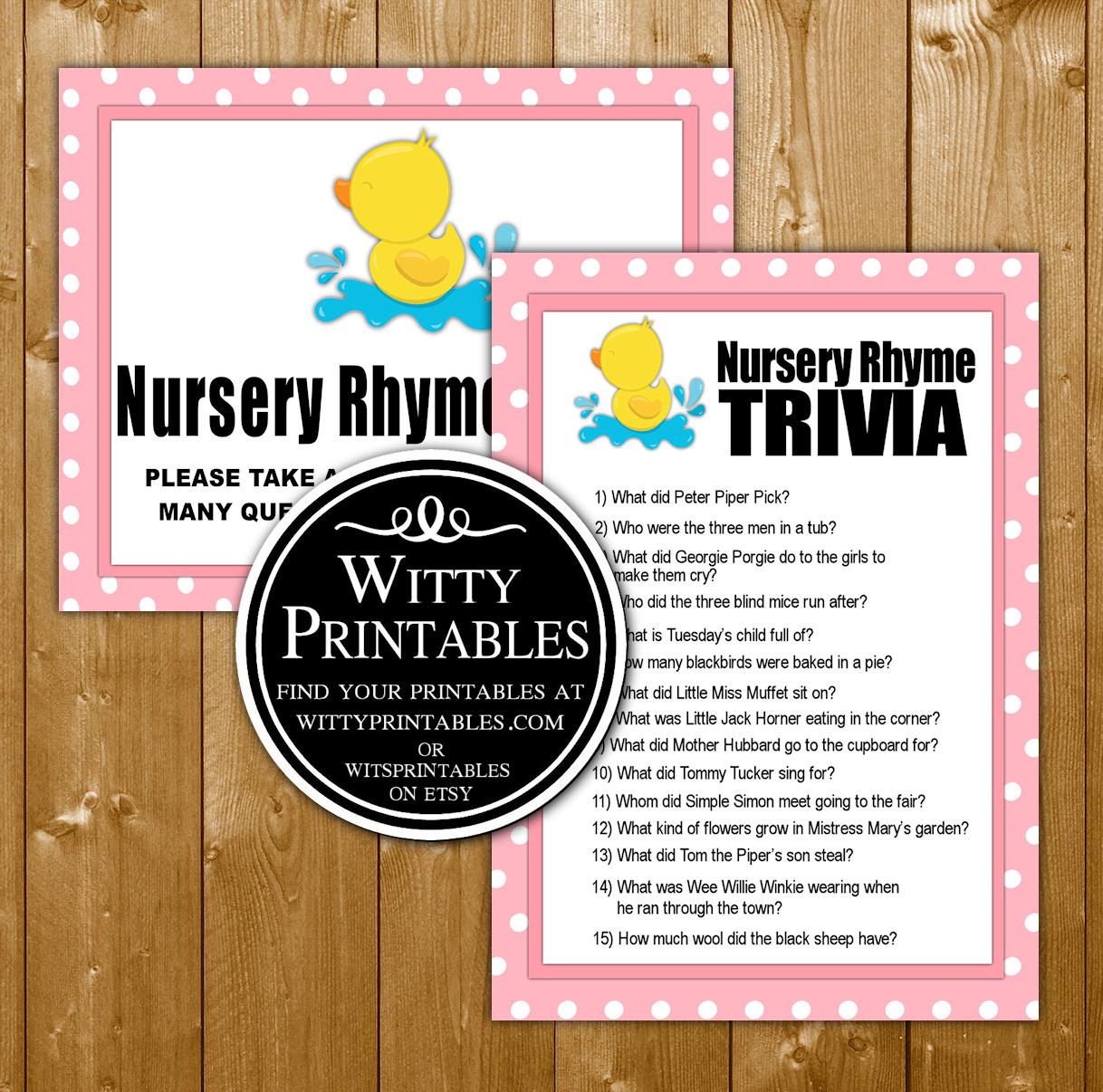 Nursery Rhyme Trivia Baby Shower Game Printable Pink Duck Girl Theme